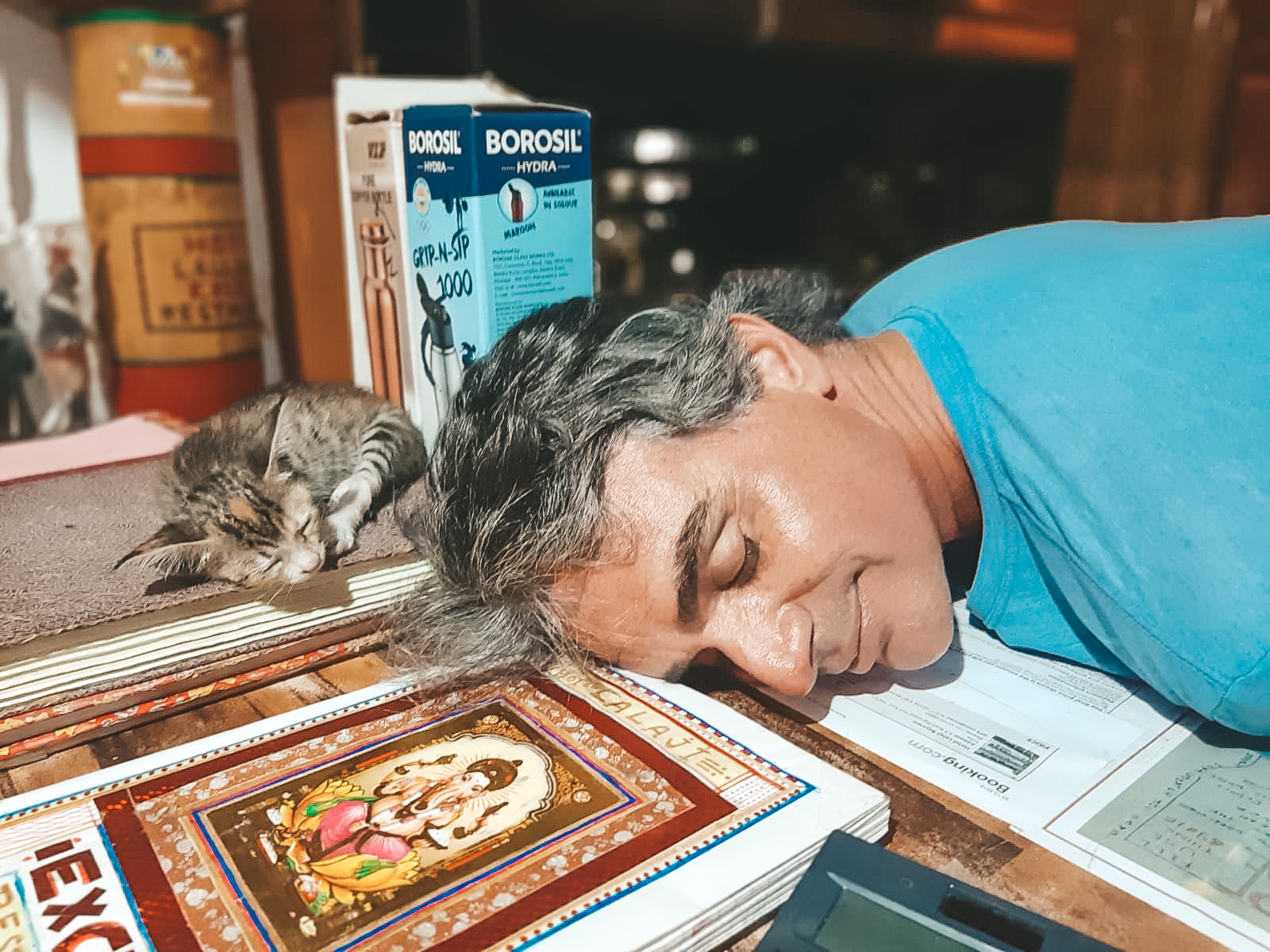 Ahimsa-Tierliebe-Katze schläft neben Mensch-Jivamukti Yoga