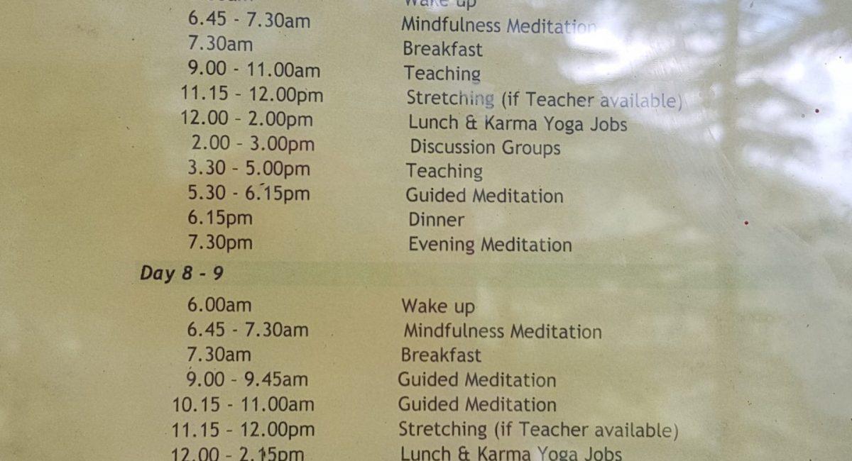 Zeitplan Tushita